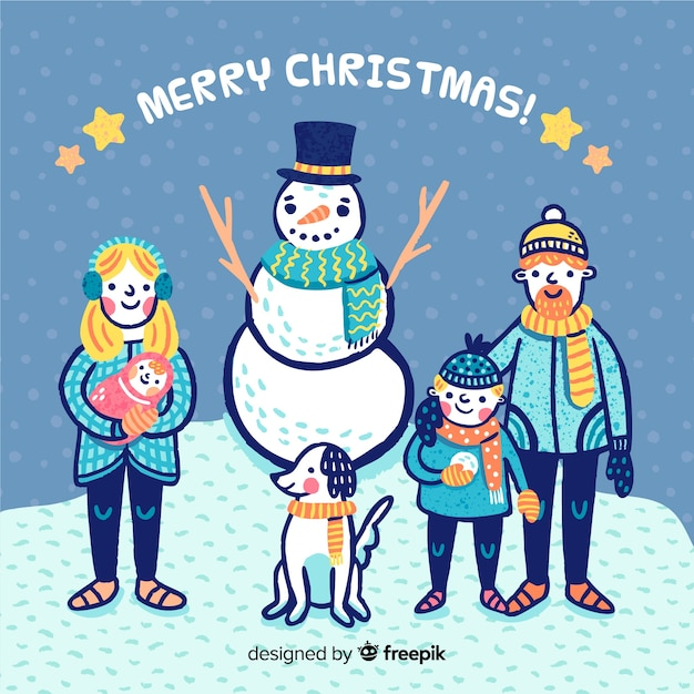 Hand drawn family with snowman christmas background Free Vector
