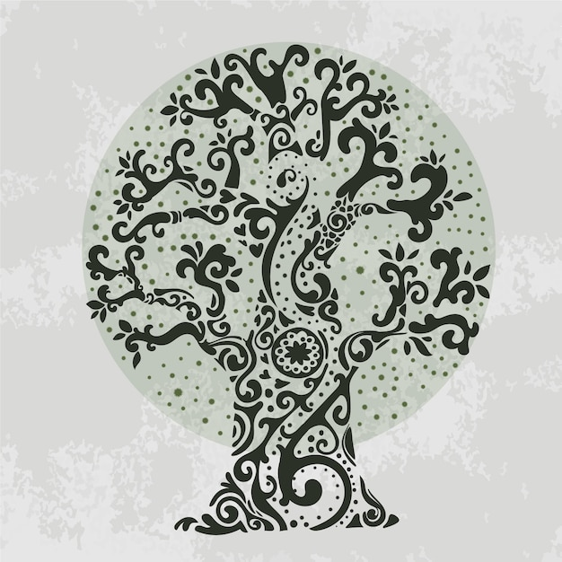 Hand drawn fancy branches tree life Free Vector