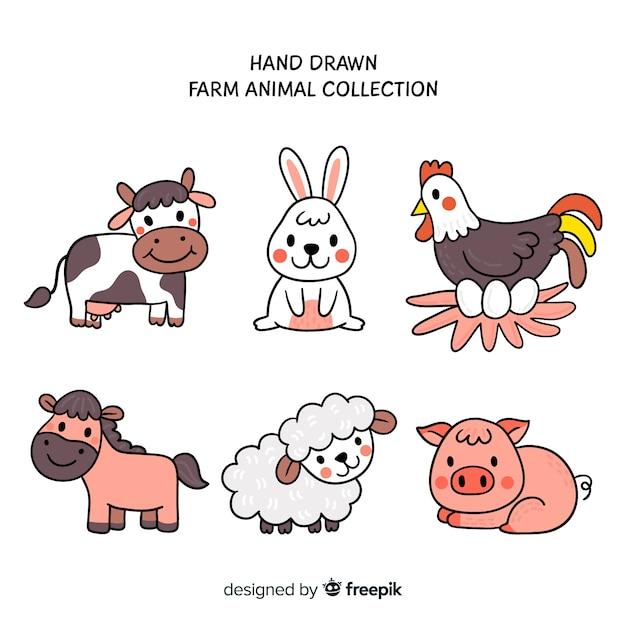 手描きの農場の動物コレクション Premiumベクター
