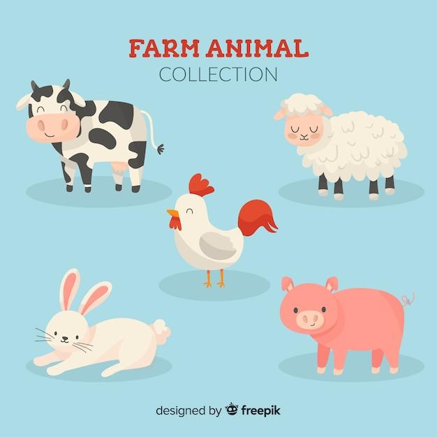 Hand drawn farm animal collection Free Vector