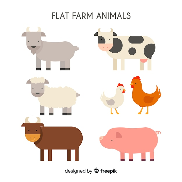 Hand drawn farm animal collection Free Vector