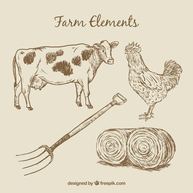 دست کشیده حیوانات مزرعه و عناصر
