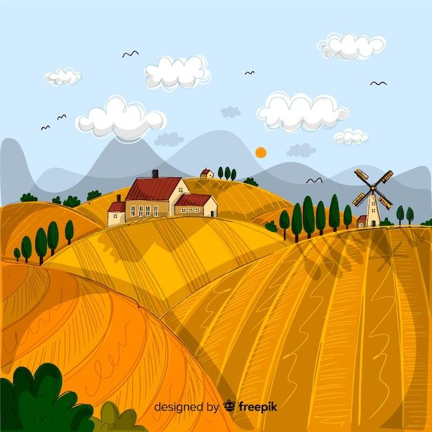 Hand drawn farm landscape background Free Vector