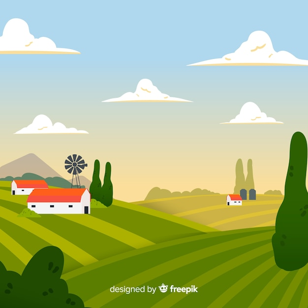 Hand drawn farm landscape background Free Vector