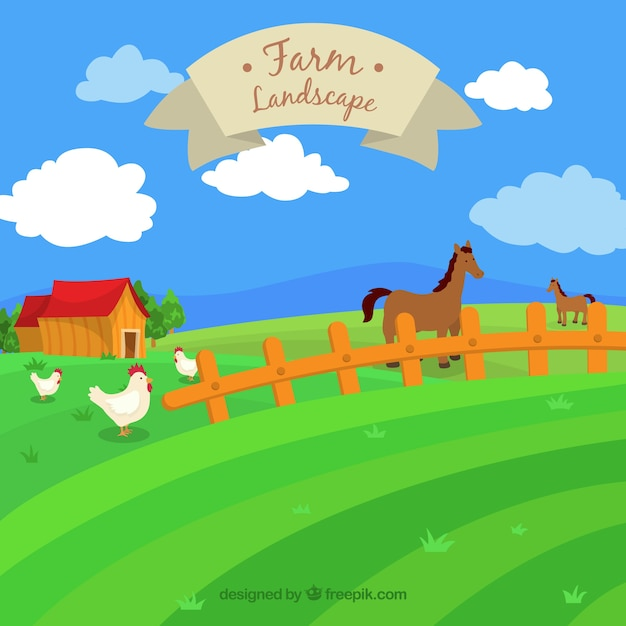 Hand drawn farm landscape with animals