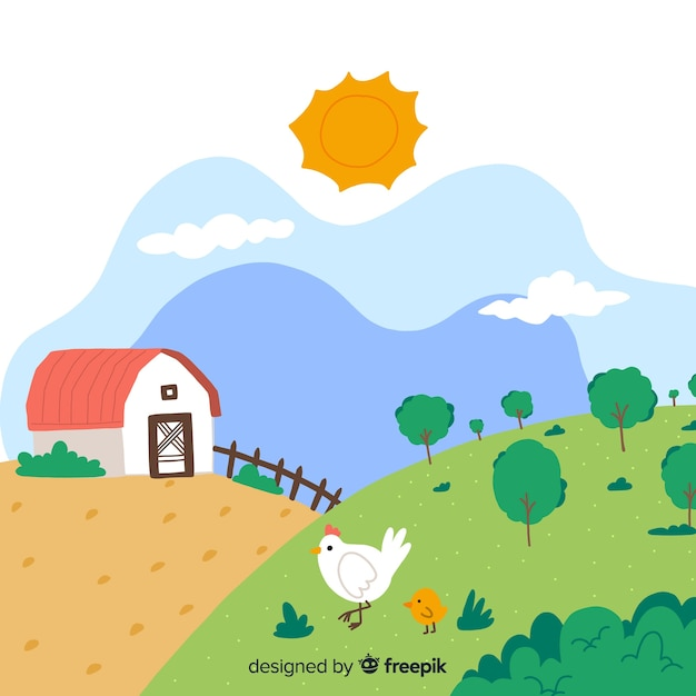 Hand drawn farm landscape Free Vector