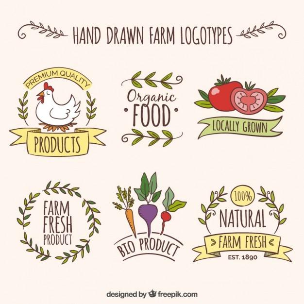 دست کشیده آرم مزرعه با محصولات ارگانیک