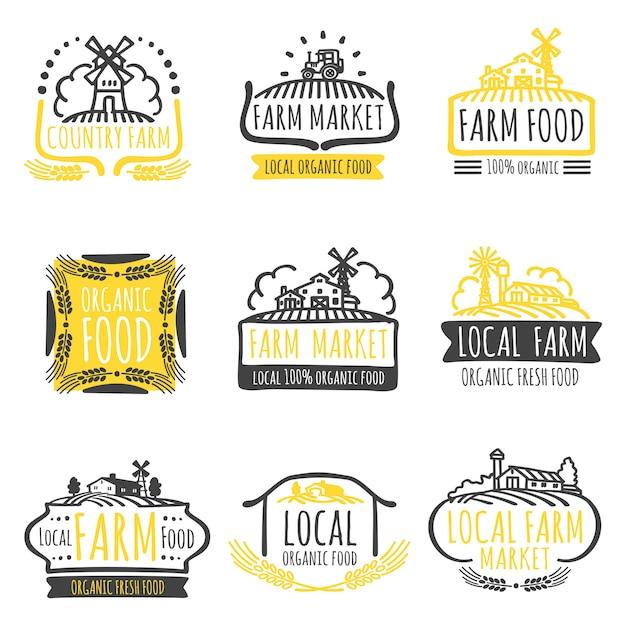 Hand drawn farm market organic food labels set Premium Vector