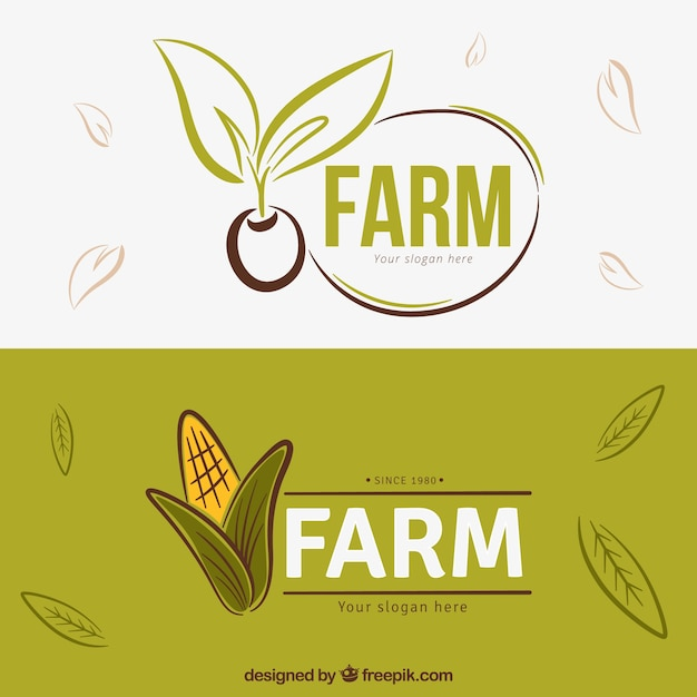 Hand drawn farm products logos Free Vector