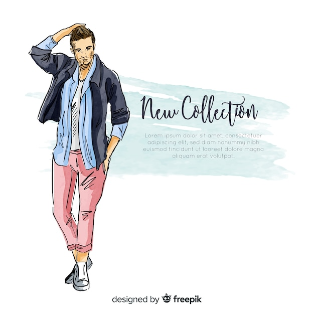Hand drawn fashion man illustration Free Vector