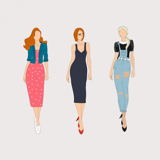 Hand drawn fashion models.  illustration concept. Premium Vector