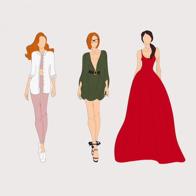Hand drawn fashion models. sketch. vector illustration. Premium Vector