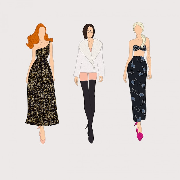 Hand drawn fashion models. Premium Vector