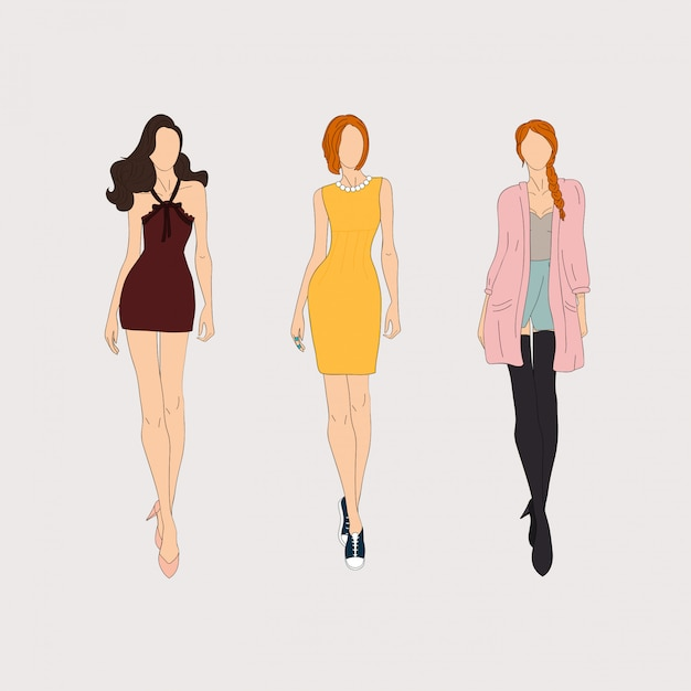 Hand drawn fashion models. Premium Vector