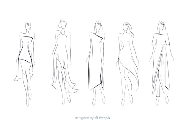 Hand drawn fashion sketch collection Free Vector