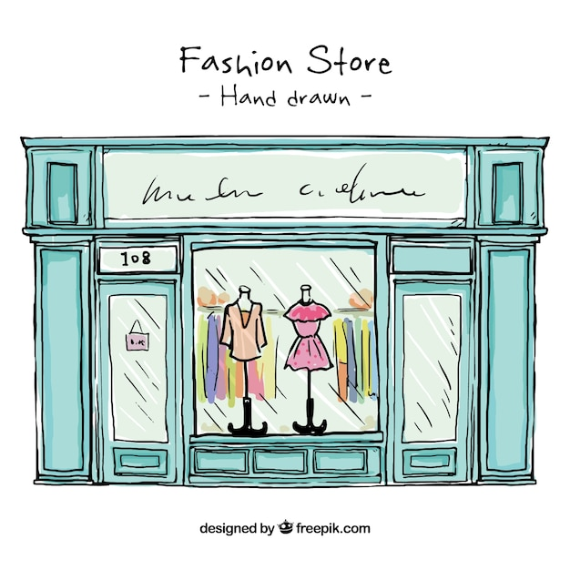 Hand drawn fashion store shop window vector free download for Window design cartoon