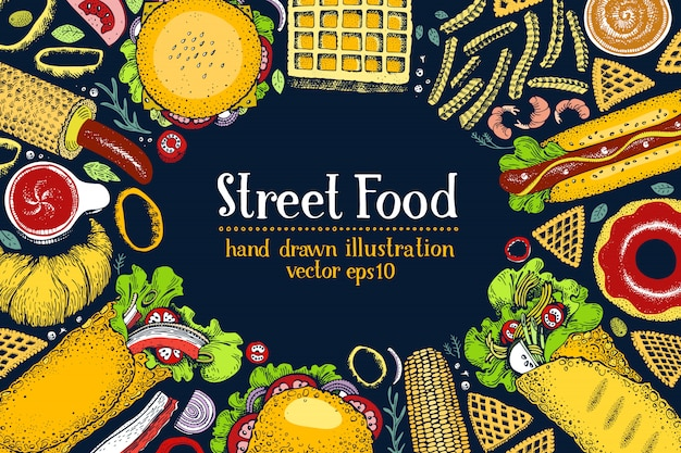 Hand drawn fast food banner. street food top view background. Premium Vector