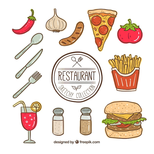 Hand drawn fast food element collection Free Vector