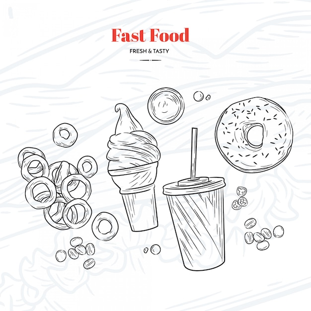 Hand drawn fast food elements Free Vector