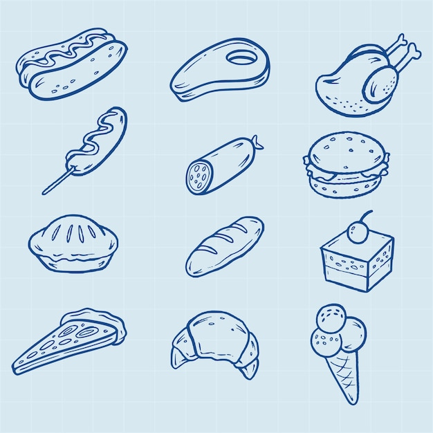 Hand drawn fast food icons Premium Vector
