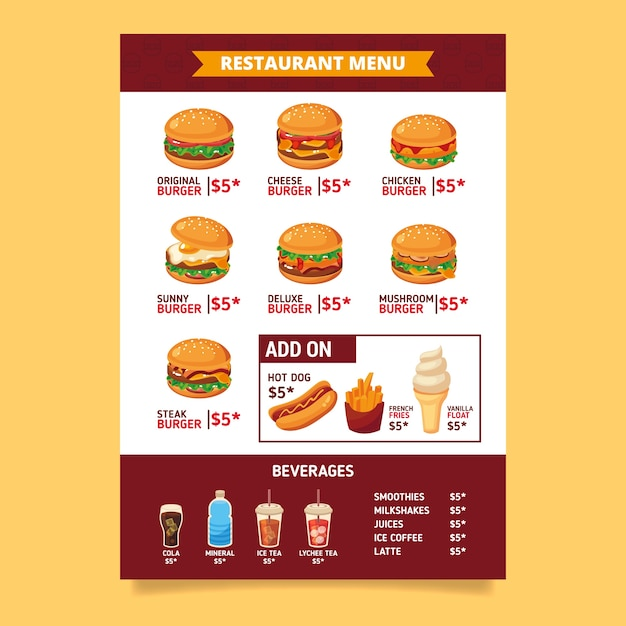 Hand drawn fast food menu template Free Vector