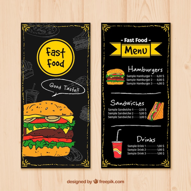 Hand drawn fast food menu Free Vector