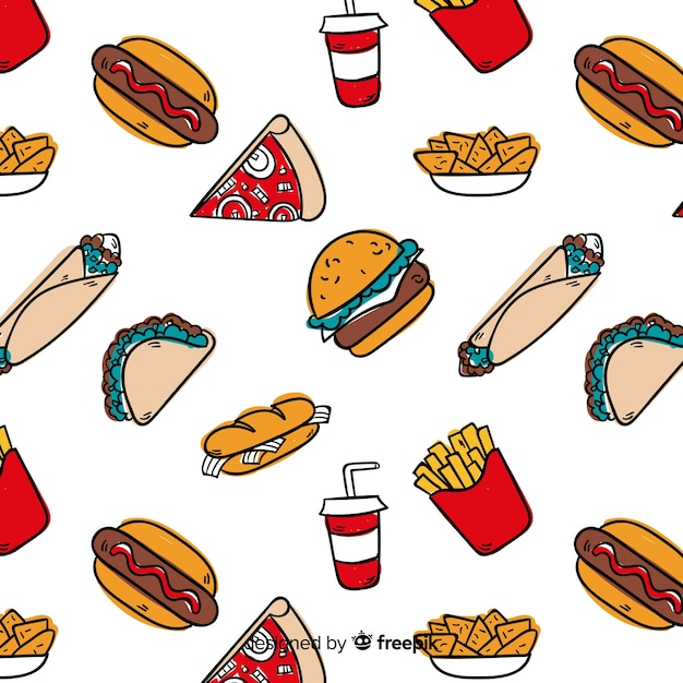 Hand drawn fast food pattern background Free Vector