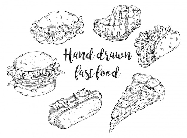 Hand drawn fast food Premium Vector
