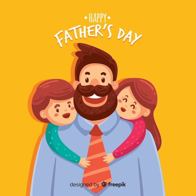Hand drawn father's day background Free Vector