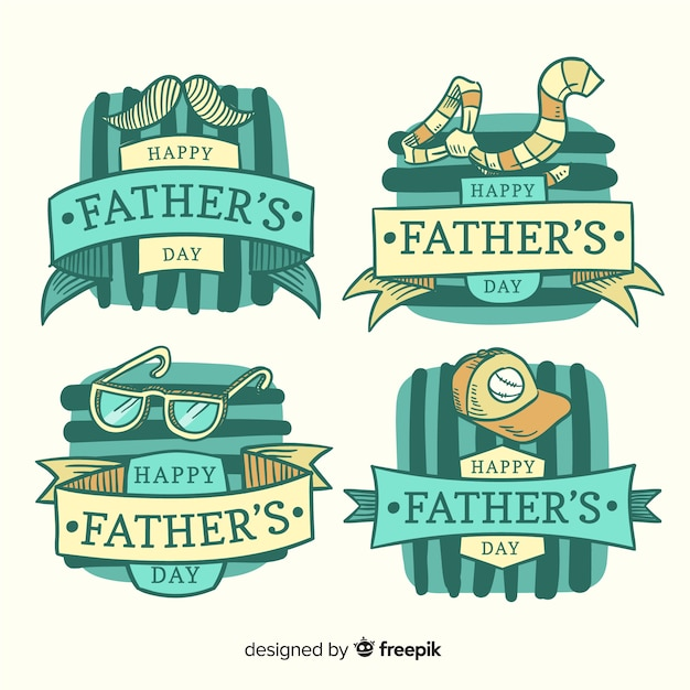 Hand drawn father's day badge collection Free Vector