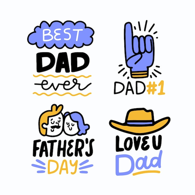 Hand drawn father's day badges Free Vector