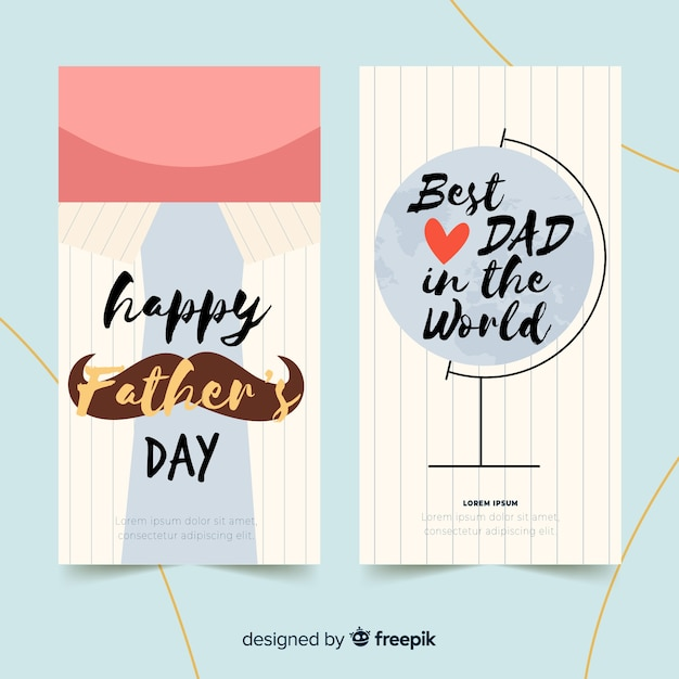 Hand drawn father's day banners Free Vector