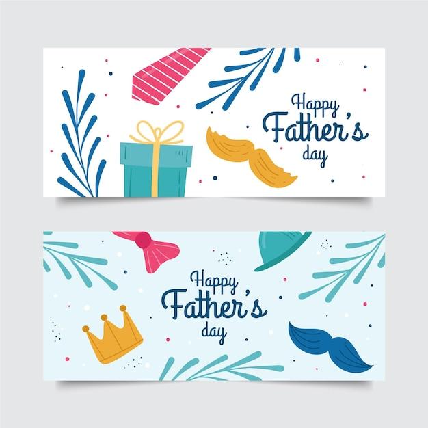 Banner festa del papà disegnati a mano Vettore gratuito