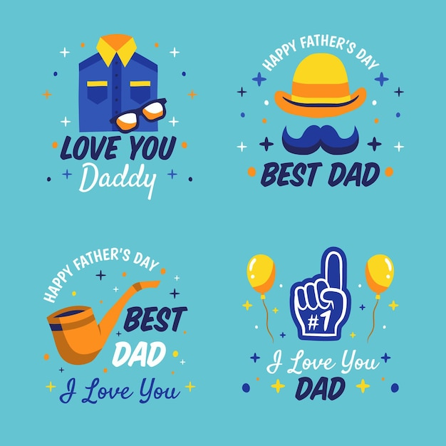Hand drawn father's day labels set Free Vector