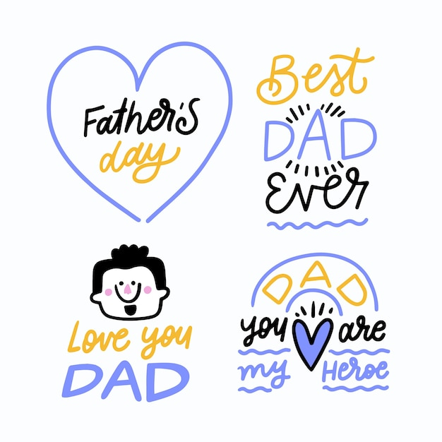 Hand drawn father's day labels Premium Vector