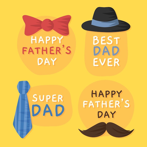 Hand drawn father's day labels Free Vector
