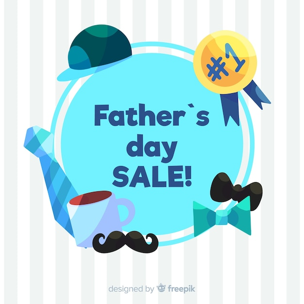 Hand drawn father's day sale background Free Vector