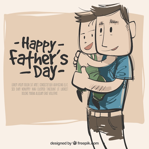 Hand drawn father and son background Free Vector