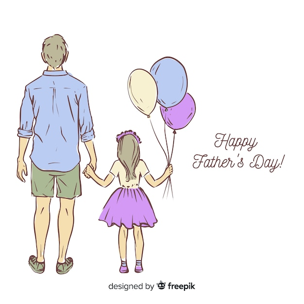 Hand drawn fathers day background Free Vector