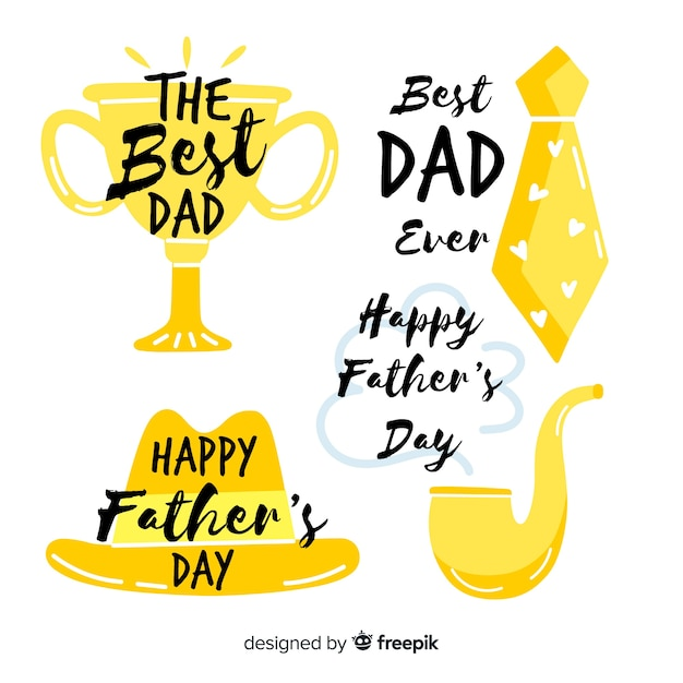 Hand drawn fathers day badge collection Free Vector