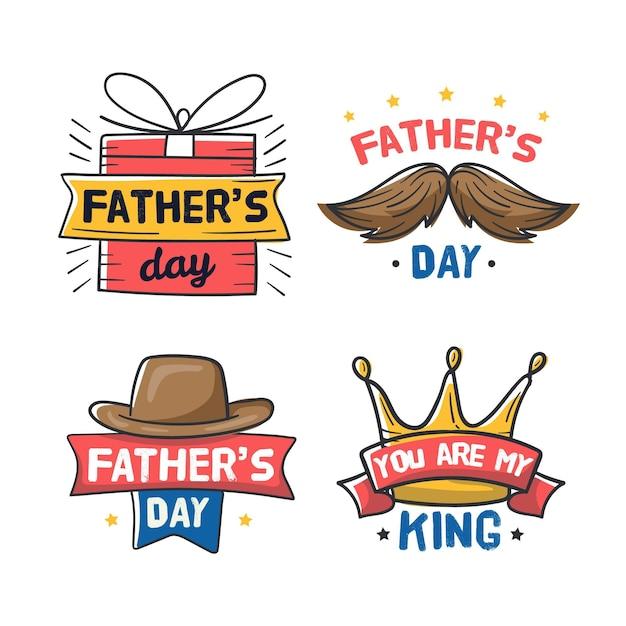 Distintivi di giorno di padri disegnati a mano Vettore gratuito