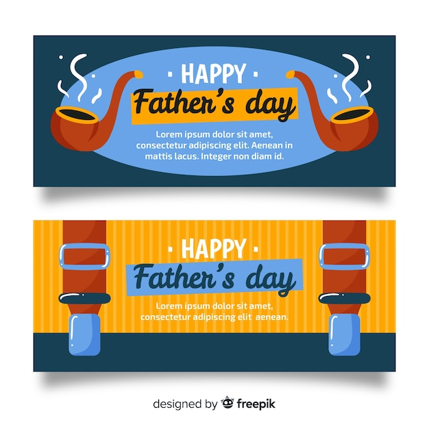 Hand drawn fathers day banners Free Vector