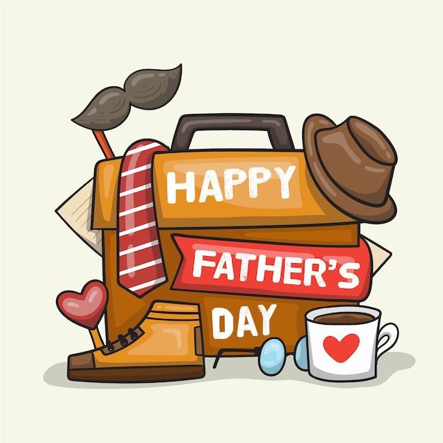 Нарисованная рукой концепция дня отцов Бесплатные векторы