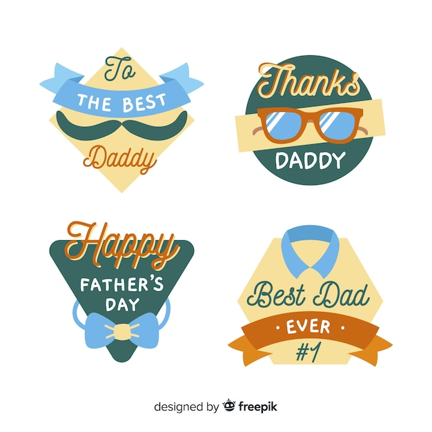 Hand drawn fathers day label collection Free Vector