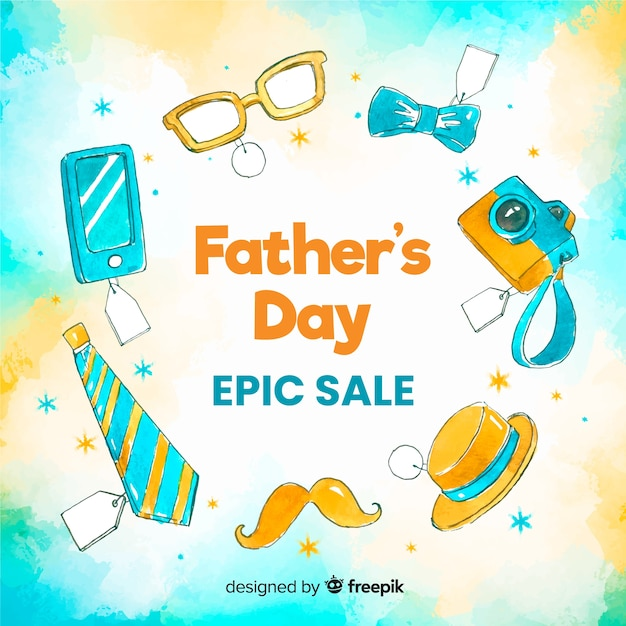 Hand drawn fathers day sale background Free Vector