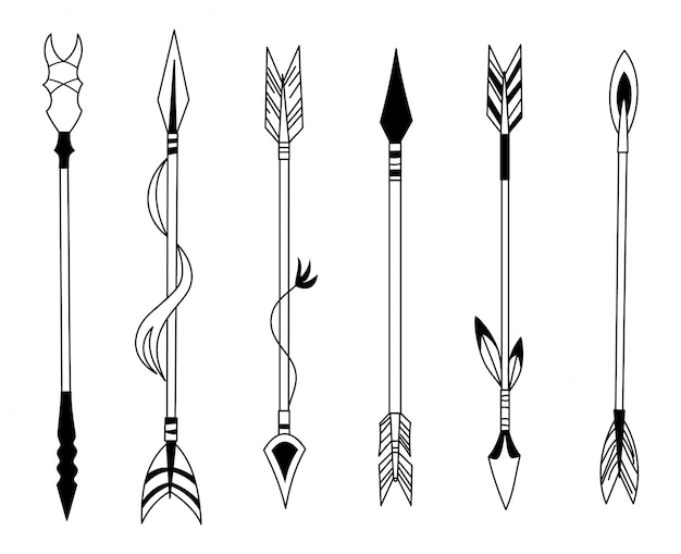 Hand drawn feather arrow Premium Vector
