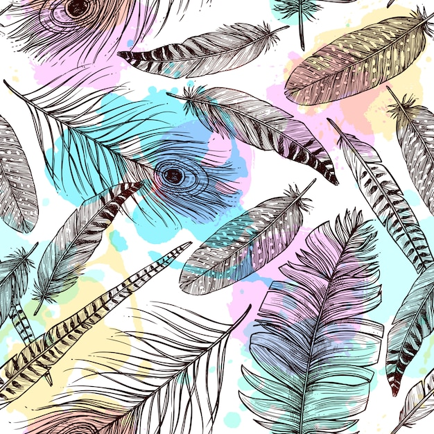 Hand drawn feathers seamless pattern Free Vector