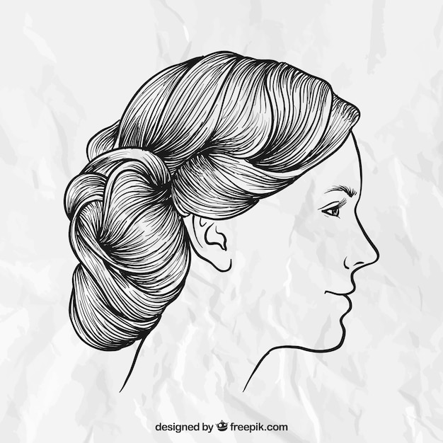 Hand Drawn Female Hairstyle Vector Premium Download - Drawing a hairstyle