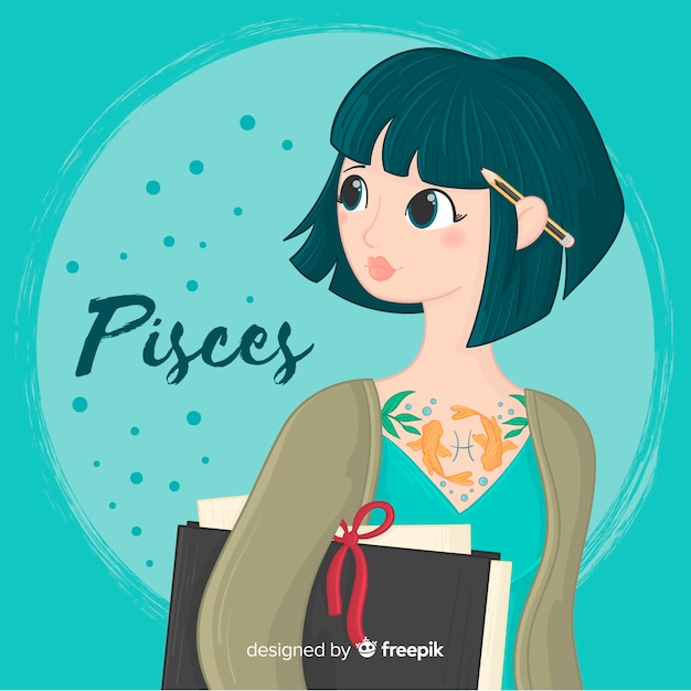 Hand drawn female zodiac character Free Vector