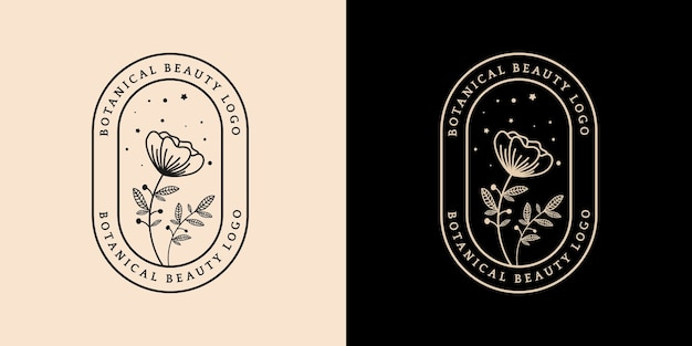 スパサロン肌髪美容ブティックや化粧品会社に適した手描きの女性と花の植物のロゴ Premiumベクター